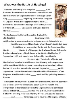 What was the Battle of Hastings Cloze Activity
