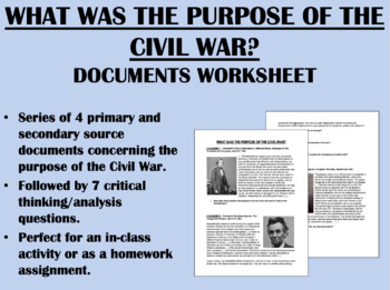 What was the Civil War About? Documents - US History/APUSH