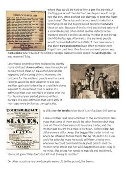 What was the experience of enslaved people in the New World? 9-page lesson pack