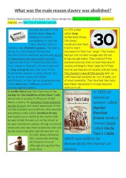 What was the main reason slavery was abolished? 7-page lesson pack