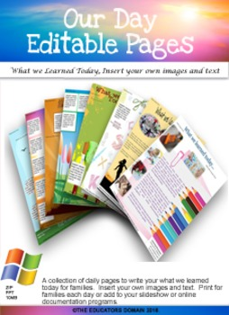 What we learned today-Editable Daily Pages
