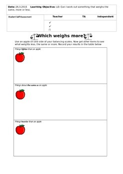 Weighing Activity- Measurement worksheet