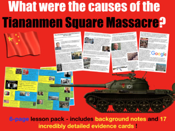 Tiananmen Square - 6-page full lesson (notes, card sort)