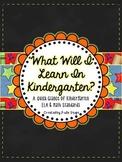 What Will I Learn in Kindergarten?