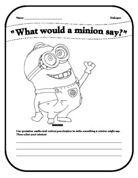 What would a minion say? quotation mark activity