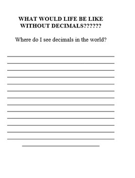 What would life be like without decimals? (Writing Assignment)