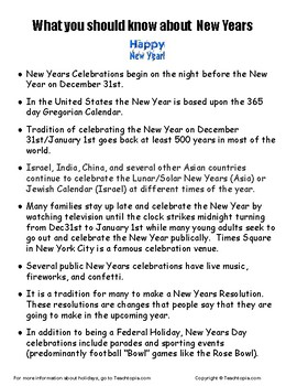 What you should know about New Years and New Years Day.  What is New Years.