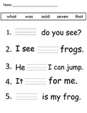 What_was_said Kindergarten sight word worksheet