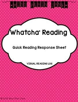 Whatcha' Reading Quick Response: Visual Reading Log