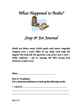 Whatever Happened to Bodie? Guided Reading Packet