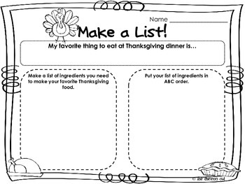 What's Cookin'? Thanksgiving Favorite Food Graphic Organizers