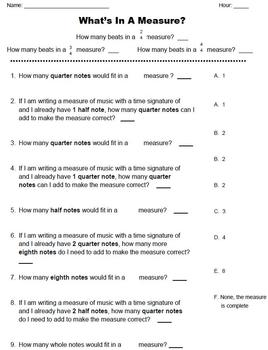 What's In A Measure? Worksheet