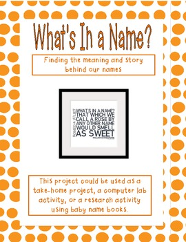Whats In A Name Research Activity