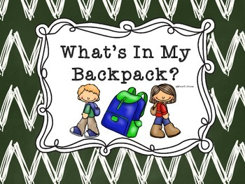 What's In My Backpack Adapted Book for SPED FREEBIE