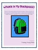 What's In My Backpack? Grades 3-8