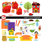 What's In Your Backpack? School Supply Clipart by Poppydreamz