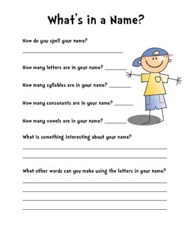 What's In a Name? Back to school icebreaker or substitute teacher lesson
