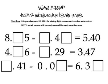 What's Missing?- Decimal Addition and Subtraction