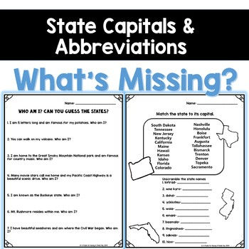 USA State Capitals and Abbreviations- What's Missing?