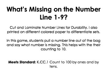 What's Missing on the Number Line 1-9