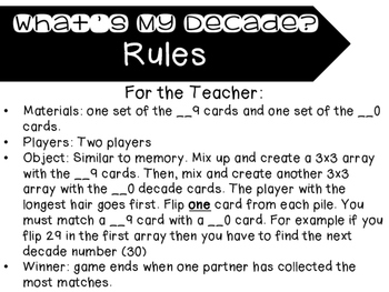 What's My Decade? Number Matching Memory Game
