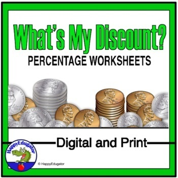Figuring Percents Whats My Discount Worksheet By Happyedugator