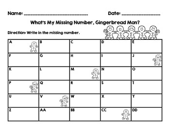 What's My Missing Number, Gingerbread Man? Tier 1