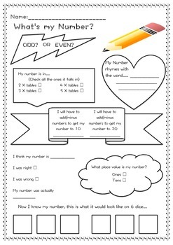 What's My Number activity sheets