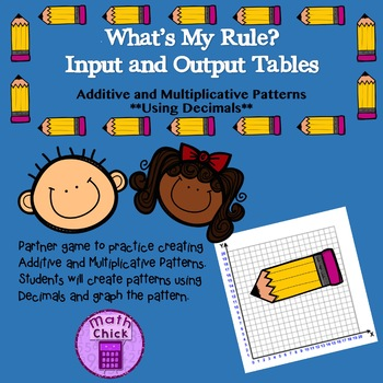 Whats My Rule Additive and Multiplicative Patterns Using Decimals TEKS 5.4C 5.4D