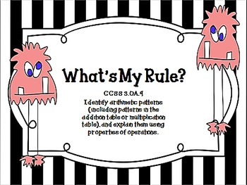 What's My Rule? Input-Output Tables Using the 4 Operations for CCSS 3.OA.9