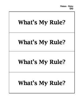 What's My Rule?  Math Center Game 4.OA.C5