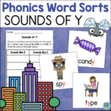 Sounds of Y Word Sort - Literacy Center Freebie