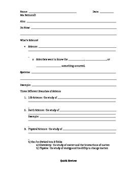 What's Science Note Sheet/Skeleton Key
