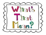 What's That Mean? vocabulary strategy posters