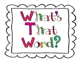 What's That Word? reading strategy posters