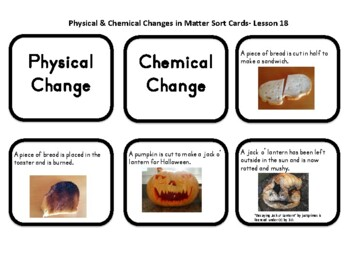 What's The Matter Plaid Pete?  Physical and Chemical Change Sort Cards