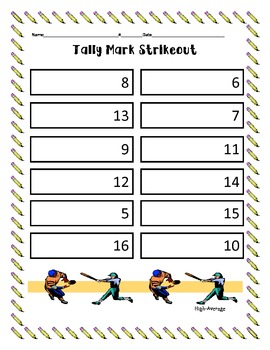 What's The Number & Tally Mark Strike Out Math Centers