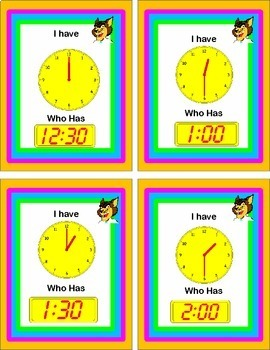 Telling Time to the Hour and Half Hour {Loop Game}