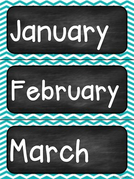 Days, Months, Years, and Dates~Editable  (chalkboard/chevron)