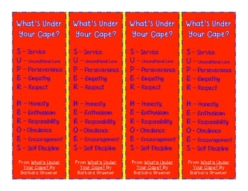 """What's Under Your Cape?"" Bookmarks"