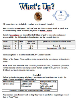 What's Up Math Game (Adaptable to Grades K-6)