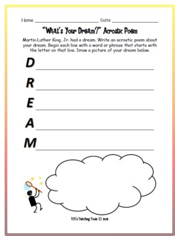 """""""What's Your Dream?"""" Acrostic Poem {Martin Luther King, Jr.}"""