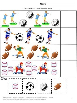 Sports Kindergarten Special Education Autism Cut and Paste Fine Motor