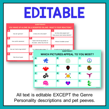 """""""What's Your Genre Personality?"""" Quiz Bundle (76 pages!)"""