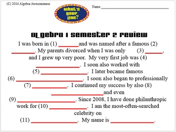 What's Your Line: Algebra 1 Semester 2 Exam Review