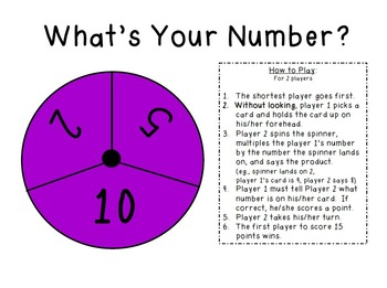 What's Your Number?  A Multiplication Fact Game: 3.OA.4 an