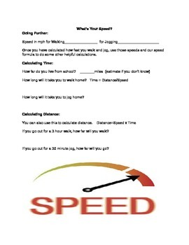What's Your Speed? A Physical Science Lab to Calculate Speed
