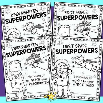 End of the Year Memory Book Superhero Theme Kindergarten First Grade