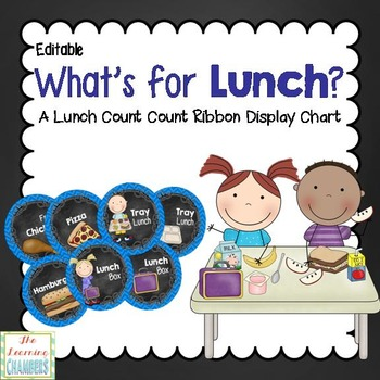 Chevron and Chalkboard Lunch Choices Display: Editable, Classroom Decor