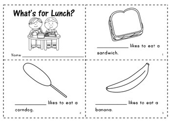 """""""What's for Lunch?"""" Predictable Easy Reader"""
